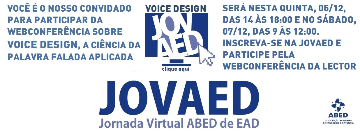 Jornada Virtual da ABED promove Webconferência sobre Voice Design na EAD