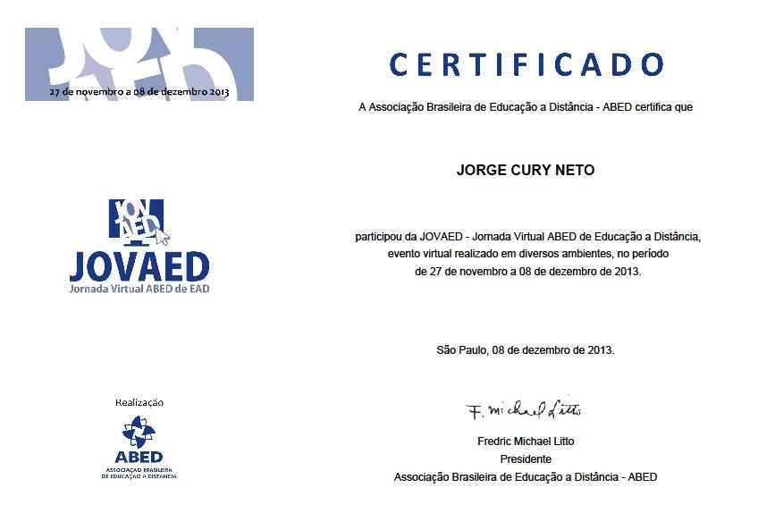 Certificado de participação no Jovaed com Voice Design