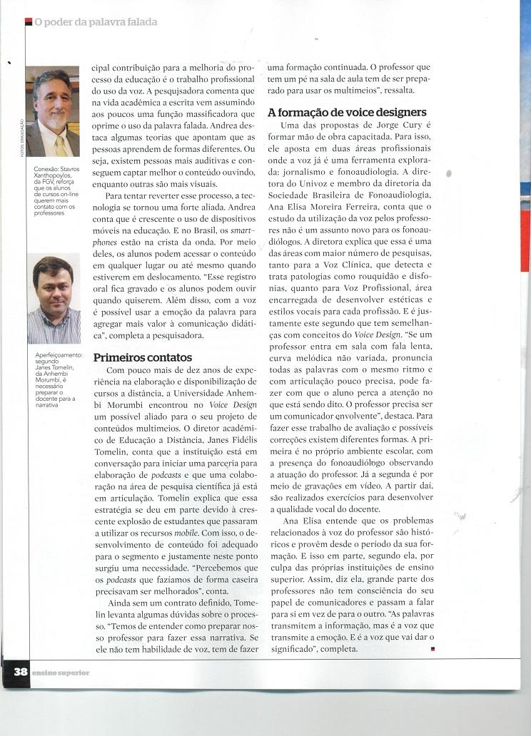 Revista Ensino Superior destaca o Voice Design