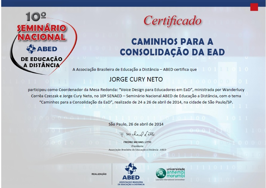 """Certificado de participação no SENAED – Mesa Redonda """"Voice Design para Educadores em EaD"""""""