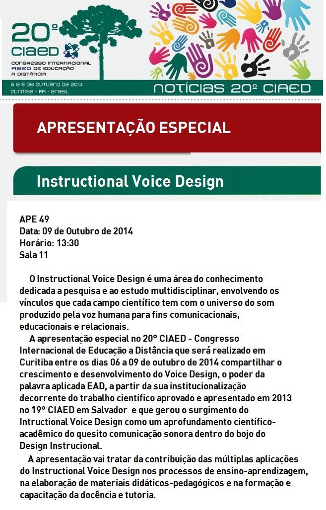 Instructional Voice Design terá apresentação especial no 20° CIAED em Curitiba