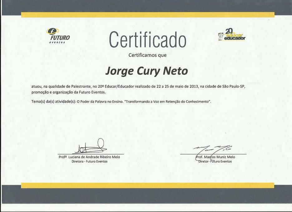 Certificado de palestrante no Educar/Educador 2013