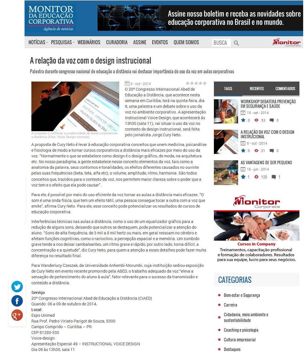 Instructional Voice Design no Congresso de EaD em Curitiba é notícia