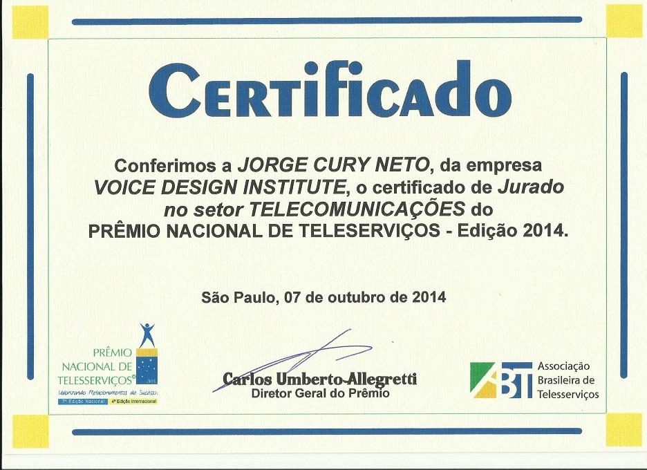 Certificado de Jurado do Prêmio Nacional de Telesserviços