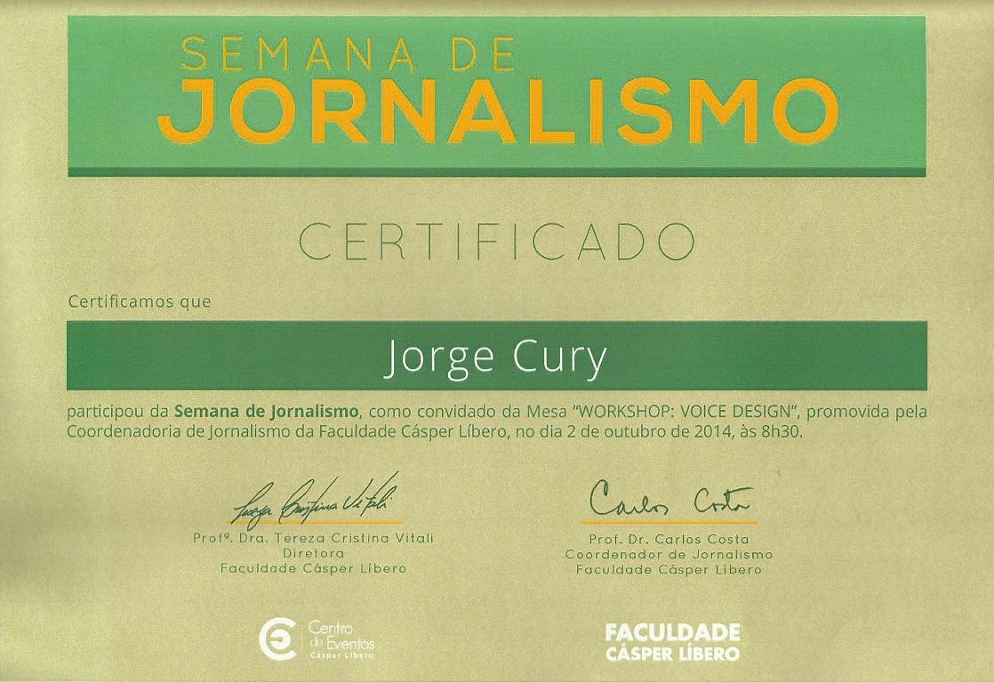 Certificado da Semana de Jornalismo da Faculdade Cásper Líbero
