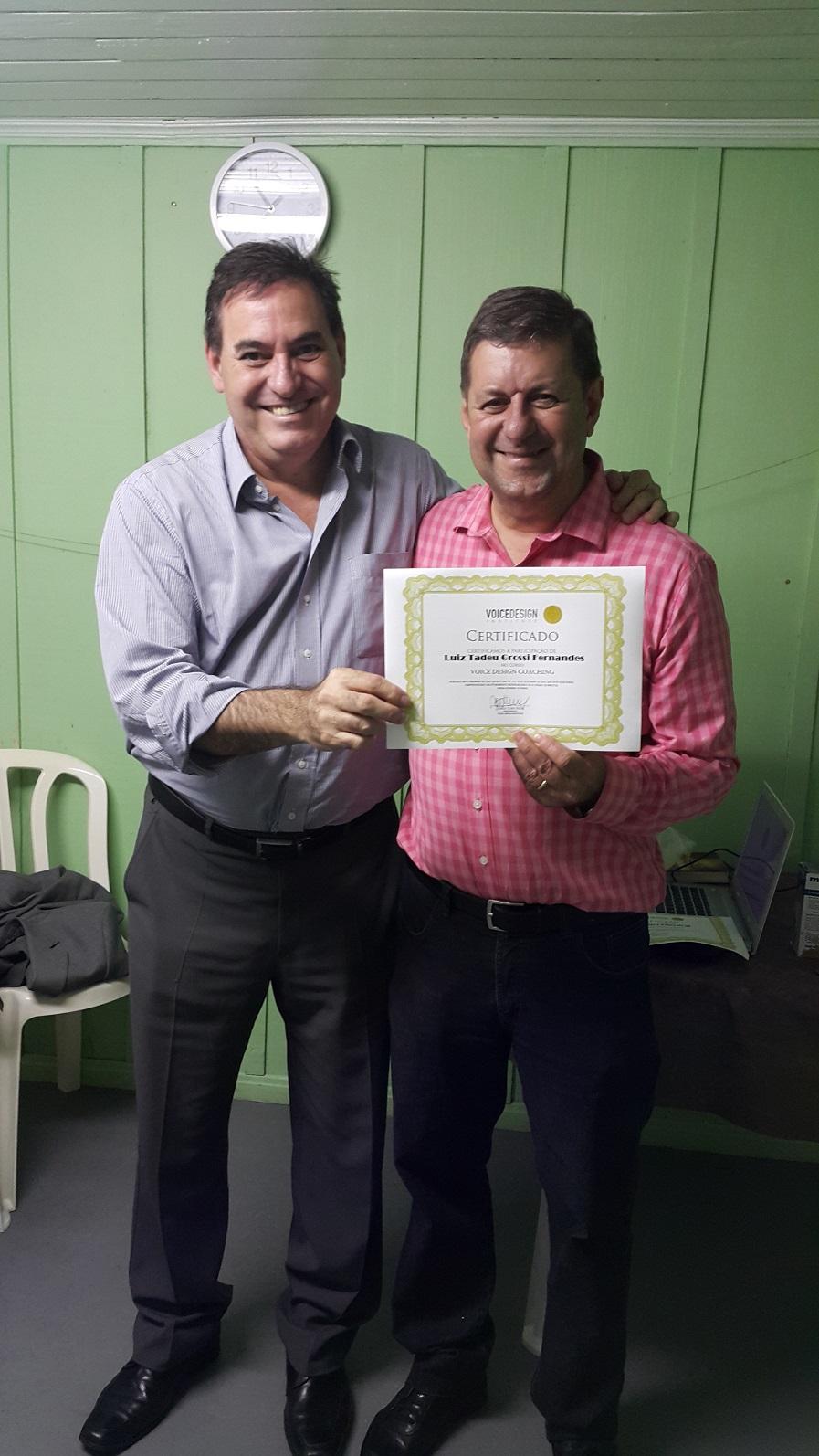 Entrega de Certificado do Curso Voice Design Coaching – Turma 02